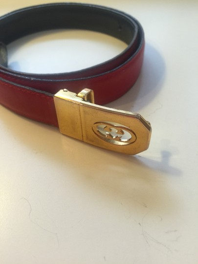 """Gucci Gucci Red Leather Belt with Gold Gucci Cutout Insignia Buckle 33"""" x 3/4"""""""