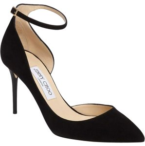 Jimmy Choo D'orsay Ankle Strap Suede Pointed Black Pumps