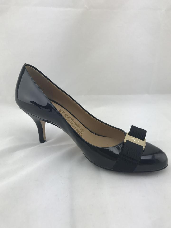salvatore ferragamo carla patent bow black pumps on sale 53 off pumps on sale. Black Bedroom Furniture Sets. Home Design Ideas