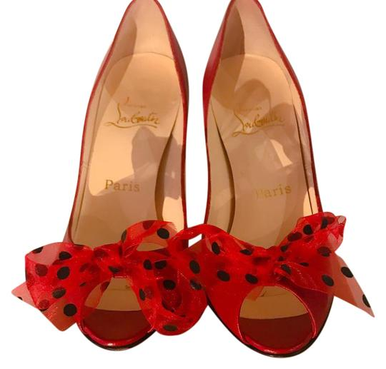 Preload https://item1.tradesy.com/images/christian-louboutin-red-with-black-polka-dots-so-fun-worn-once-indoors-moon-bow-100-peep-toe-pumps-s-21555070-0-1.jpg?width=440&height=440