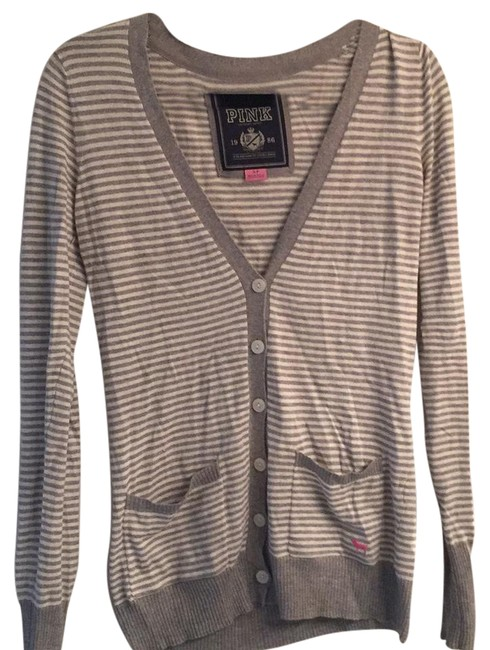 Preload https://item3.tradesy.com/images/pink-grey-and-white-stripe-cardigan-size-4-s-21555092-0-1.jpg?width=400&height=650