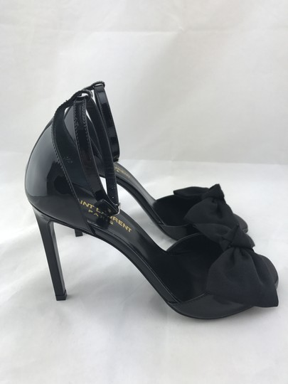 Saint Laurent Jane Bow Classic Ankle Strap Black Sandals
