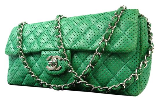 Preload https://item3.tradesy.com/images/chanel-classic-flap-perforated-lambskin-218751-green-leather-shoulder-bag-21555287-0-1.jpg?width=440&height=440
