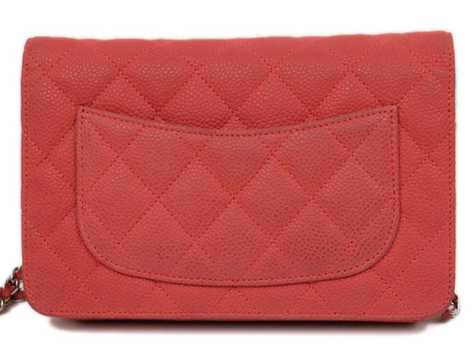 9e6c679288f309 Chanel Wallet on Chain Quilted Caviar 219717 Red Leather Shoulder Bag -  Tradesy