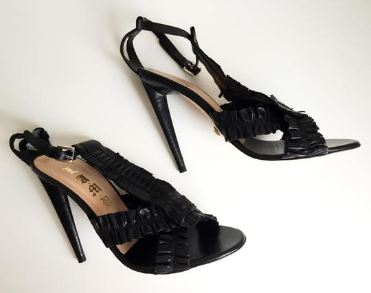 L.A.M.B. T-straps Stiletto High Heels Lita Lamb Black Sandals