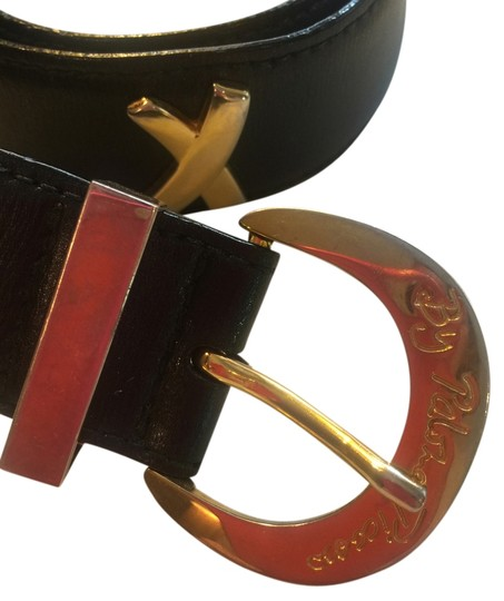 "Paloma Picasso Paloma Picasso black calf leather belt with 4 gold signature x's 33"" x 1 & 1/2"""