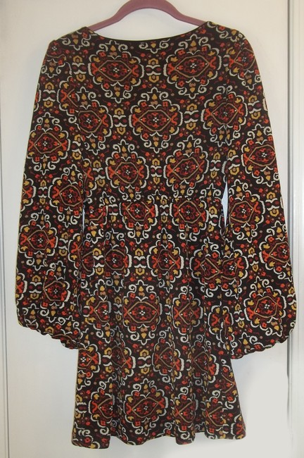 Judith March short dress orange red tan yellow black Colorful Pattern Long Sleeve Short Stretchy on Tradesy