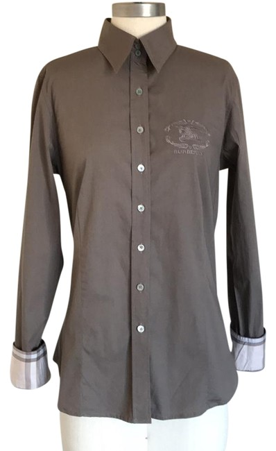 Preload https://item2.tradesy.com/images/burberry-london-dark-brown-fitted-shirt-button-down-top-size-12-l-21555621-0-4.jpg?width=400&height=650