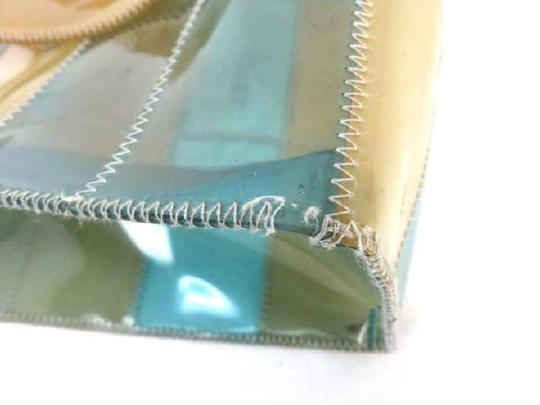 Chanel Patch Work See Through Translucent Beach Clear Tote in Beige x Blue