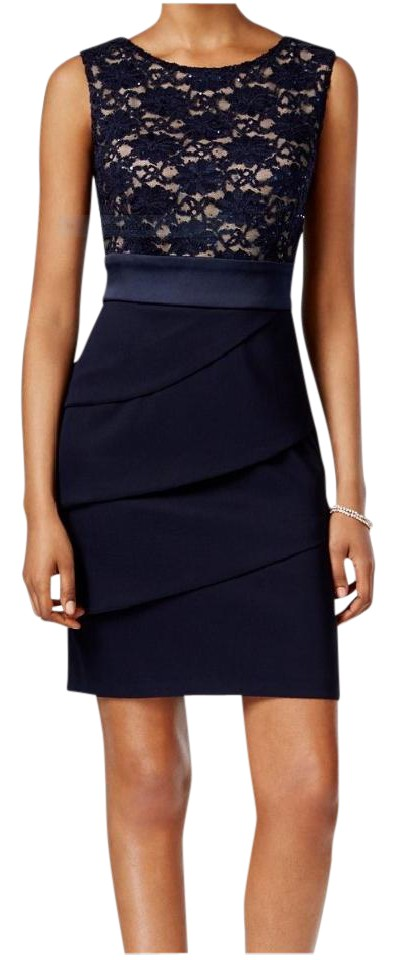 bb5a2568c27 Connected Apparel Navy Blue Nude Tiered Sequined Lace Sheath Cocktail Dress