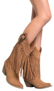J. Adams Cowboy Fringe Knee High Round Toe Tan Boots