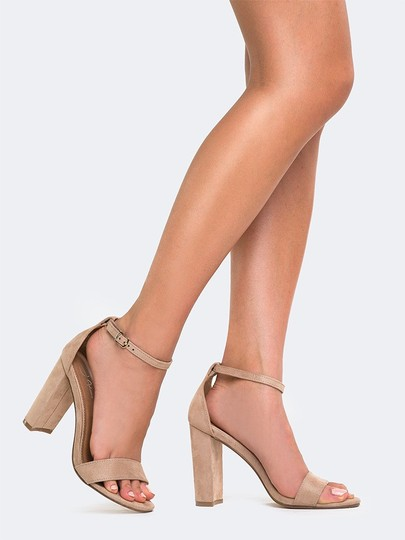 J. Adams High Heel Open Toe Sandals Ankle Strap Nude Pumps
