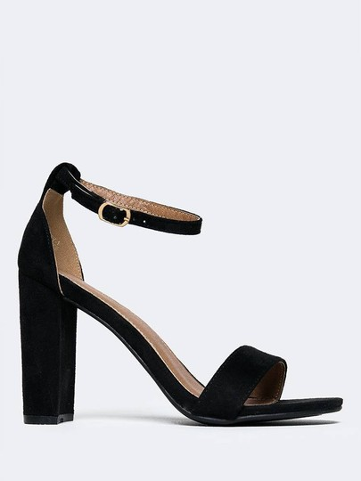 J. Adams High Heel Open Toe Sandals Ankle Strap Black Pumps