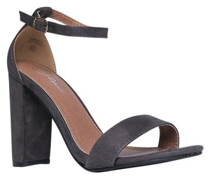 J. Adams High Heel Open Toe Sandals Ankle Strap Grey Suede Pumps