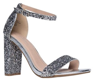 J. Adams High Heel Open Toe Sandals Ankle Strap Silver Glitter Pumps