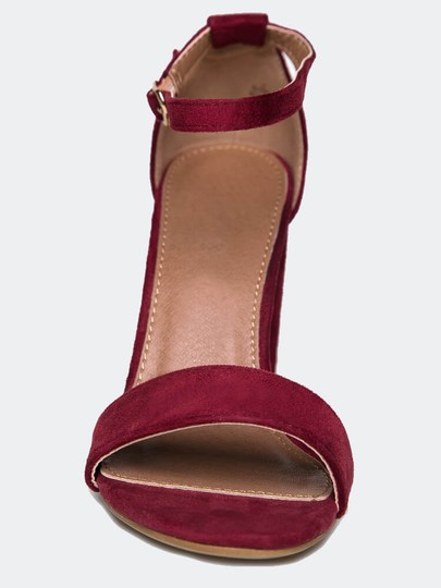 J. Adams High Heel Open Toe Sandals Ankle Strap Wine Pumps