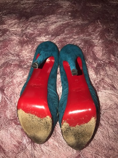 Christian Louboutin Teal Suede Pumps Blue Platforms