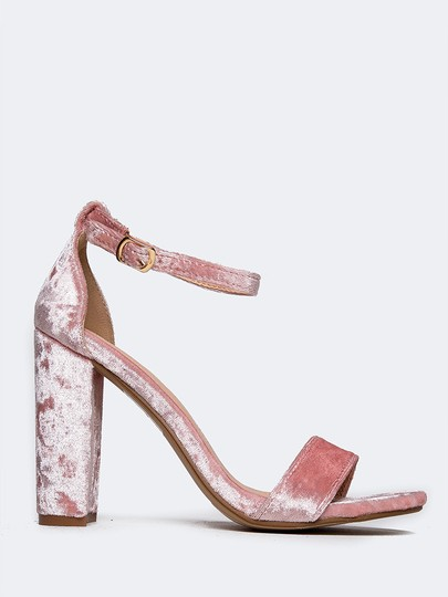 J. Adams High Heel Open Toe Sandals Ankle Strap Pink Velvet Pumps