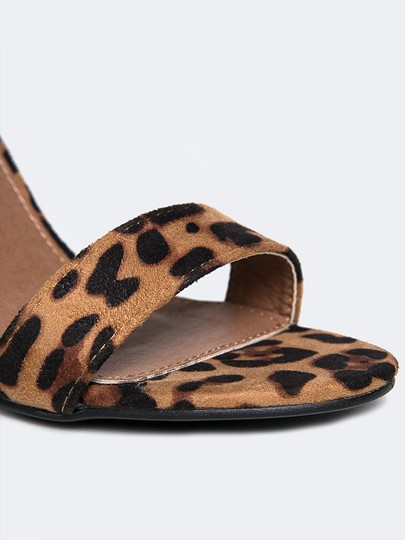 J. Adams High Heel Open Toe Sandals Ankle Strap Leopard Pumps