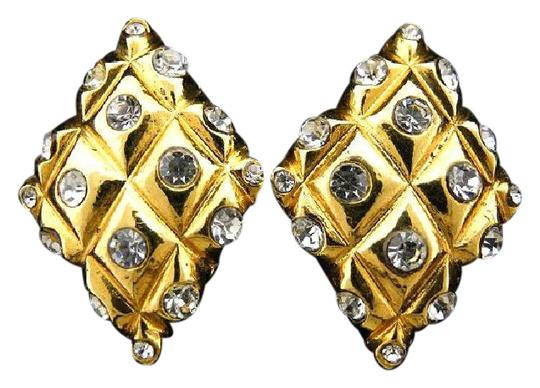 Chanel Quilted Diamond Crystal Earrings 219452
