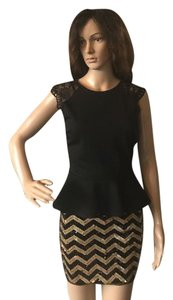 MICHAEL Michael Kors Sequin Party Mini Skirt Black and Gold