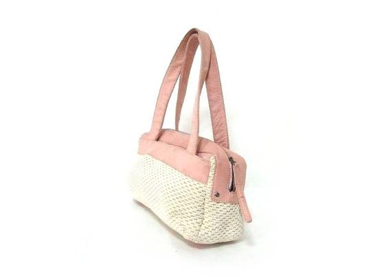Chanel Woven Interwoven Interlaced Basket Suede Tote in white x pink