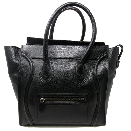 Preload https://item4.tradesy.com/images/celine-luggage-signature-drummed-mini-pebbled-handbag-black-calfskin-leather-tote-21556538-0-3.jpg?width=440&height=440