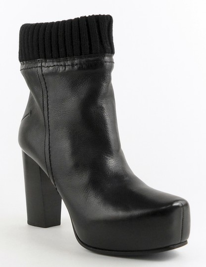 CoSTUME NATIONAL Knit Cuff Ankle Leather Designer Black Boots