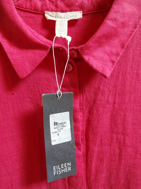 Eileen Fisher Handkercheif Linen Concealed Button S Relaxed Fit Trapeze Silhouette Organic Irish Linen Sweater