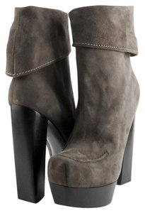 CoSTUME NATIONAL Gray/Green Fold Over Designer Ankle Suede Gray/Green Boots