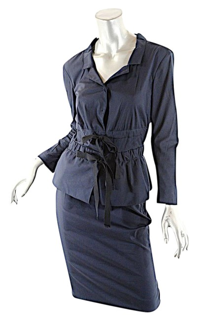 Prada PRADA Navy Cotton Blend Stretch Skirt Suit Jacket size 4 Skirt size 2