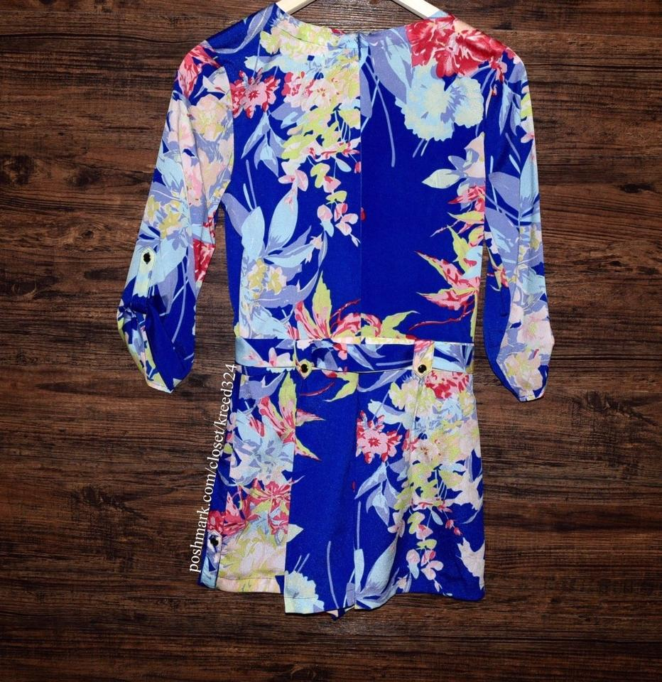 Yumi Kim Blue Floral Printed Surplice Belted Wrap New