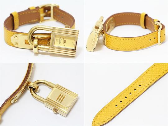 Hermès HERMES Yellow Kelly Watch 18kt Gold Plated Epsom Leather and WatchBox