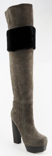CoSTUME NATIONAL Suede Over The Knee Designer Gray Boots