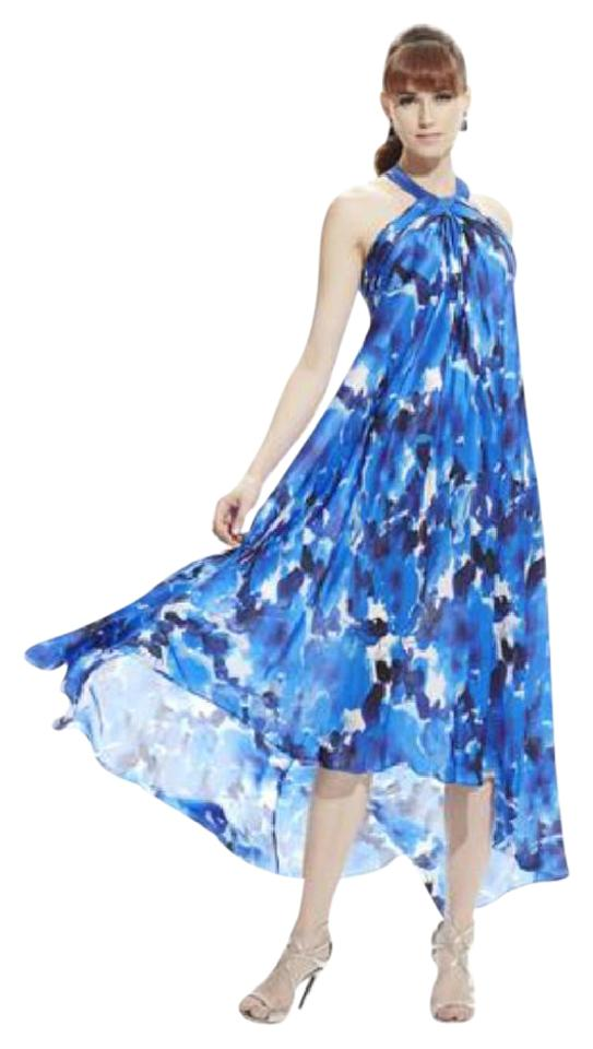 375cb43e40 Theia Blue Multi Silk Chiffon Gown Long Formal Dress Size 12 (L ...