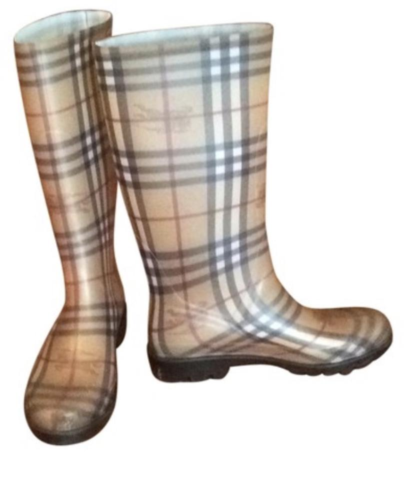 Burberry Tan Black Tan Burberry Red Check Rain Boots/Booties 0412c7