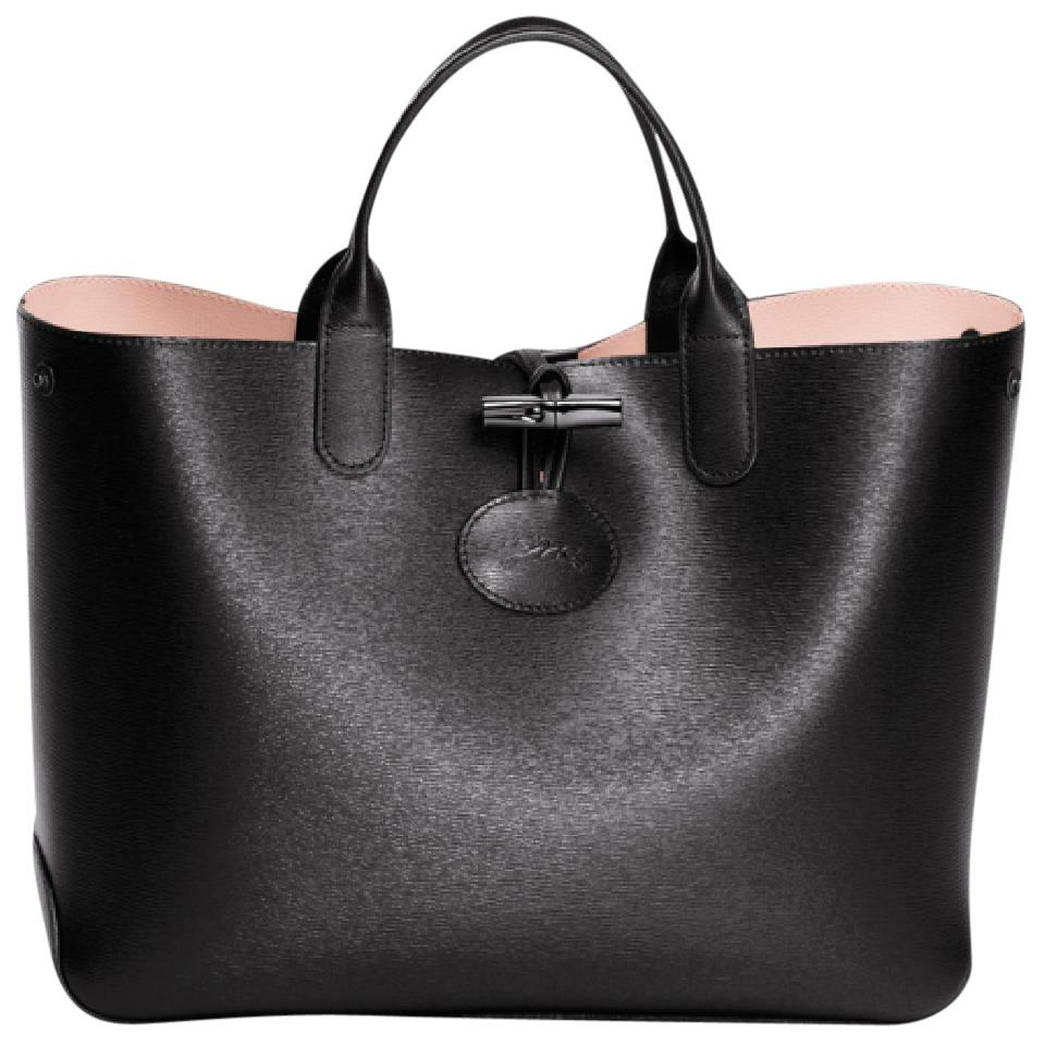 1cae5d9e5ecb Longchamp Roseau Black Pink Reversible Leather Tote - Tradesy