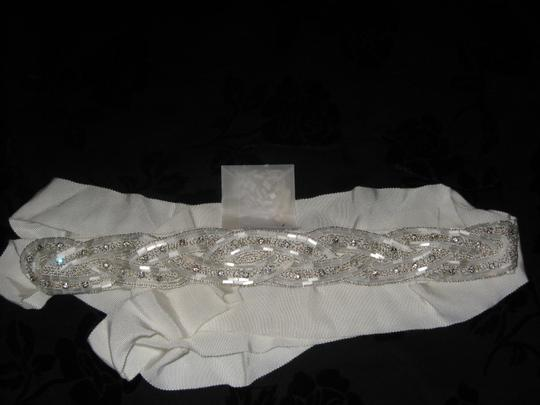 LesAccessories lesAccessories Bridal Sash Ivory- beads & Rhinestone with white accent