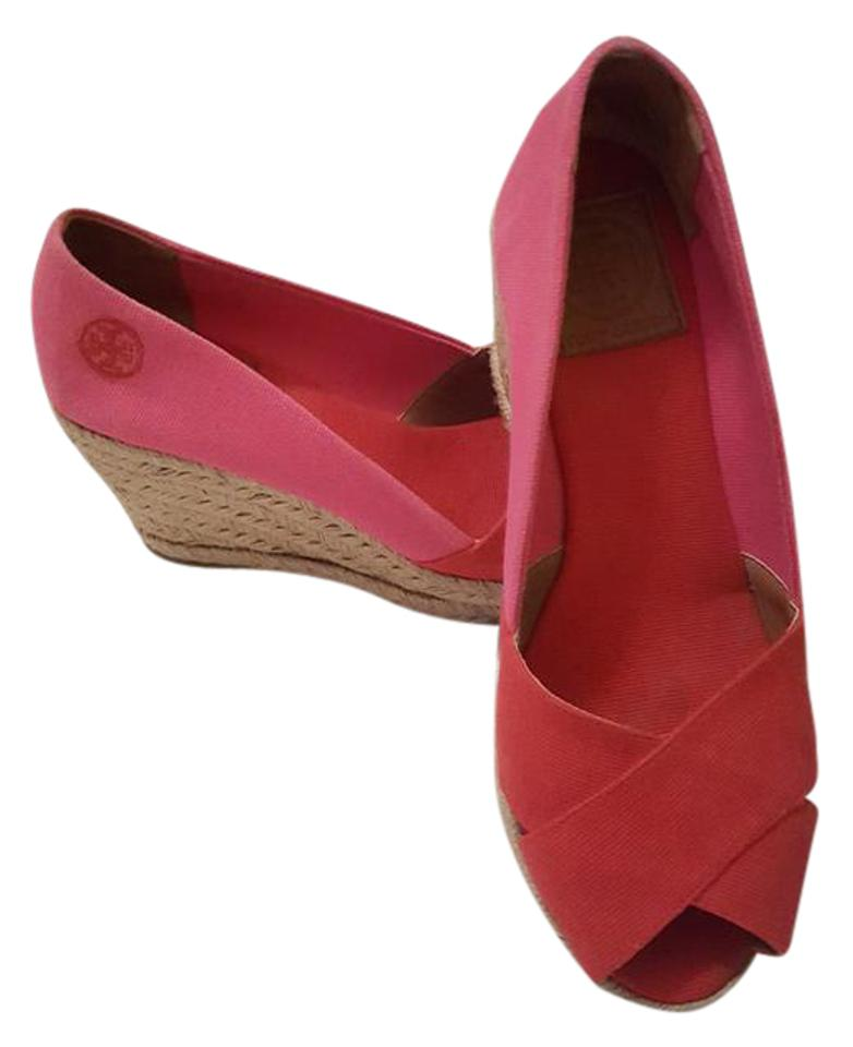 93f25cfca64ee Tory Burch Pink Red   Canvas Espadrille Wedges Size US 7.5 Regular ...