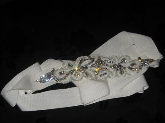 LesAccessoires lesAccessories Bridal Sash Ivory- Rhinestone with white and gold beads