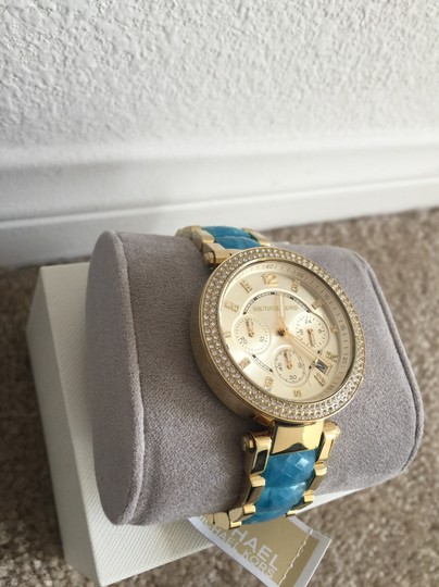 Michael Kors @@ FLASH SALE @@ $300 NWT Parker Gold and Blue Acetate Chrono MK6364