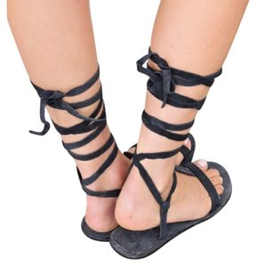 Free People Sandals Lace Up Open Toe Dahlia Suede Leather Blue Flats