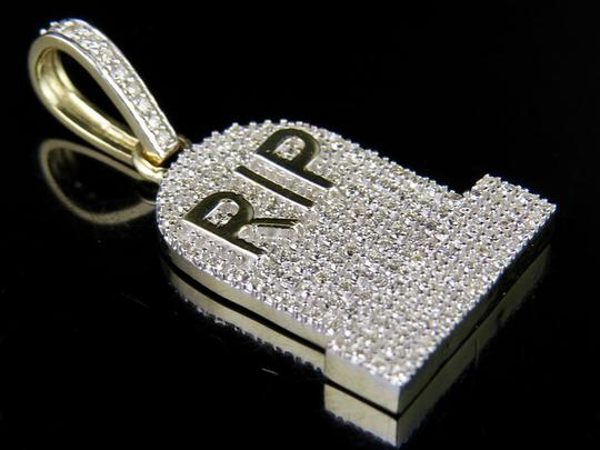 Other 10K Yellow Gold Genuine Diamond RIP Tombstone Pendant Charm 1 1/4 Ct