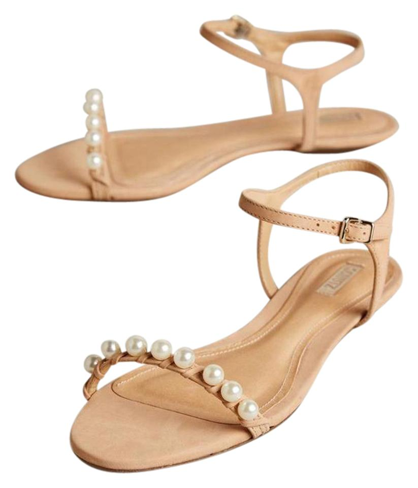 960033822 SCHUTZ Leather Open Toe Pearl Ankle Strap Suede Pale Peach Flats Image 0 ...