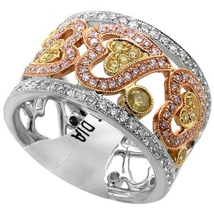 ABC Jewelry .86ct of yellow, pink and white diamonds in 18kt white gold