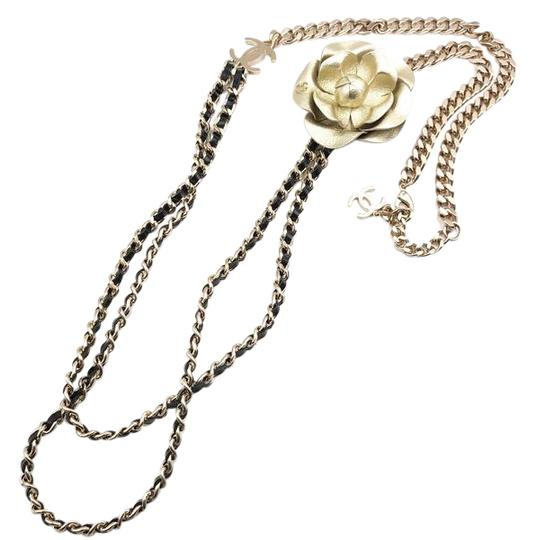Preload https://img-static.tradesy.com/item/21557815/chanel-gunmetal-faux-pearl-crystal-leather-removable-camellia-long-brooch-necklace-0-2-540-540.jpg