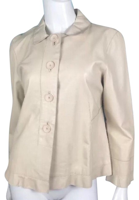 Philippe Adec cream Leather Jacket