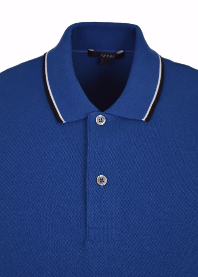 2511e42be Gucci Blue Jersey L New Men's 354345 Washed Cotton Gg Polo Golf Shirt  Button-down Top Size 12 (L) - Tradesy