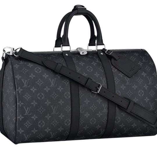 louis vuitton black grey mono eclipse canvas keepall weekend travel bag tradesy. Black Bedroom Furniture Sets. Home Design Ideas
