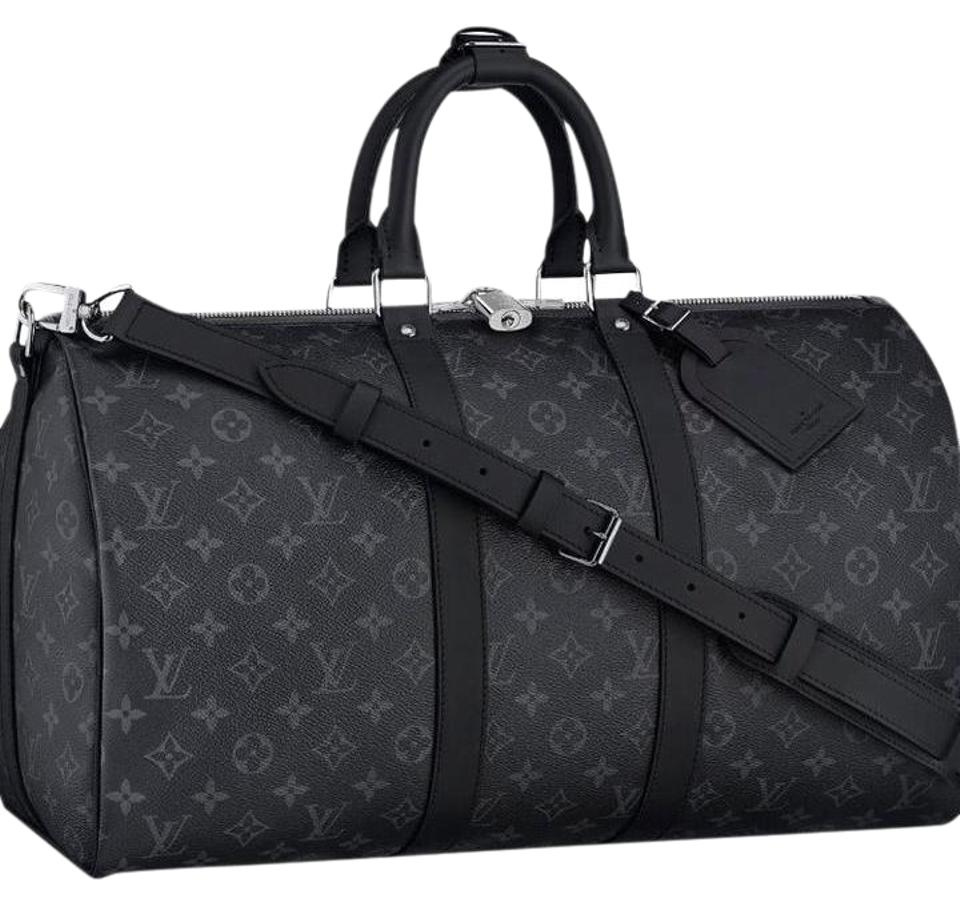 louis vuitton keepall bandouliere black grey mono eclipse canvas weekend travel bag tradesy. Black Bedroom Furniture Sets. Home Design Ideas